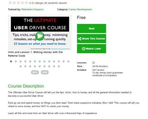 Ultimate Uber Driver Interactive video Course Page on TappnEd